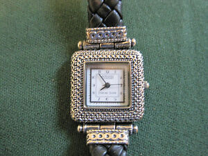 ECCLISSI  ladys sterling silver and braided leather  watch bracelet    359