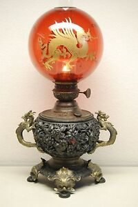 ANTIQUE GILT DRAGON KEROSENE OIL CHINESE JAPANESE LAMP CRANBERRY GLASS SHADE OLD