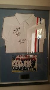 Replica shirt display from the film Escape to Victory hand signed Pele