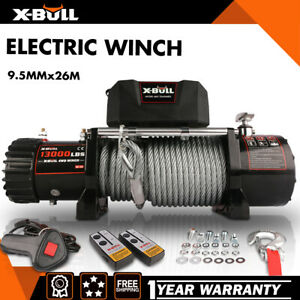 X-BULL 13000LBS Electric Winch 12V Recovery Winch Towing Track Steel Cable 4WD