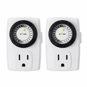 BN LINK Indoor 24 Hour Mechanical Outlet Timer Daily use 2 Pack 2 or 3 Prong $11.99