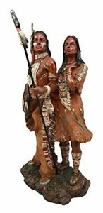 American Indian Native Warrior Husband & Wife with Wolf Figurine 12.5