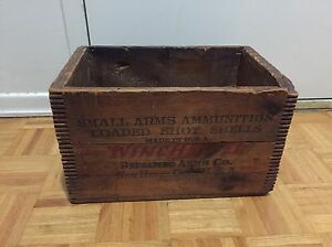 Antique Winchester 12 GA loaded shot shells dovetail wood box 12  2 58 500