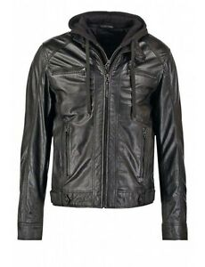 Men's Motorcycle Brando Style Real Leather Biker Hoodie Jacket - Detach Hood