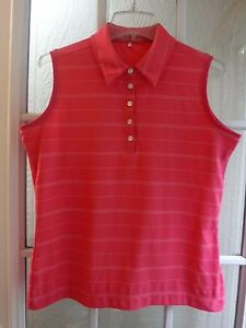 Nike Golf Fit Dry White Striped on Hot Pink Sleeveless Polyester Shirt *Women M*