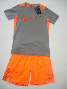 NWT Boy S8 - Nike Dri Fit Outfit - Neon orange and Gray - Shirt and shorts