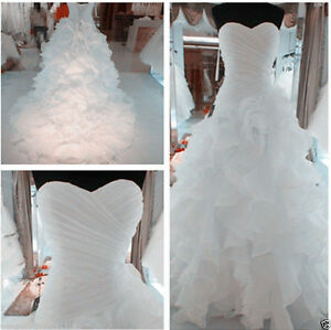 New WhiteIvory Organza Wedding Dress Bridal Gown STOCK Size 6 8 10 12 14 16 18