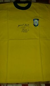 Pele signed replica Brazil shirt scribed Good luck Pele.