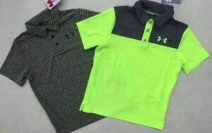 BOY'S SMALL (78) UNDER ARMOUR YELLOW & GRAY GOLF POLO SHIRTS NWT