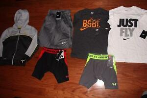 BOYS LOT AIR JORDAN THERMA-FIT HOODIE UNDER ARMOUR SHORTS NIKE TEES XS SMALL NWT