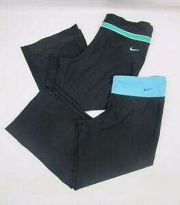 Womens Lot of 2 Nike Fit Dry Black Cropped Athletic Workout Capri Pants Size M