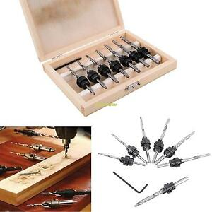 22PCS Tapered Drill amp; Countersink Bit Screw Set Wood Pilot Hole For Woodworking