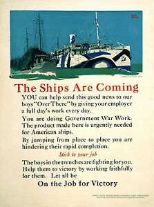 Original Vintage WWI Poster The Ships are Coming by Adolph Treidler c1917 Navy $350.00