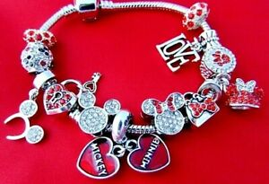 DISNEY MICKEY MINNIE MOUSE CHARM BRACELET HEART LOVE PAVE HEADS Stainless Stee