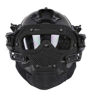 Tactical Airsoft Paintball G4 Helmet Full Face Mask Goggles Armor FAST Bump US
