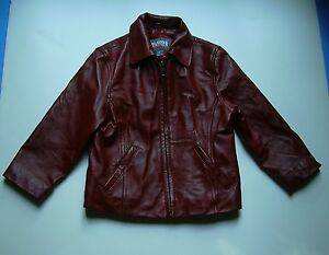 Wilson Leather Kids Brick Red Zip Front Biker Jacket Girls Childs sz XS