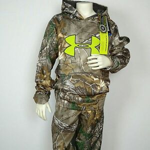 Under Armour $125 Youth RealTree Camo Hunting Scent Control Outfit Pants Hoodie