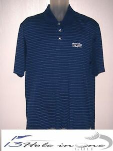 Gear For Sports Men's Golf Shirt Short Sleeve Size L BlueStriped Nice Polyester