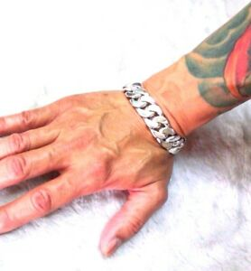 Solid Silver 925 Men's Bracelet Wrist Hot New Heavy Hard Rock Links Chain Biker