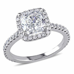 Amour 2 12 CT TW Diamond Halo Engagement Ring in 19k White Gold