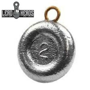 Lead Heads (40 PC) Choice Size Round River Coin Fishing Sinkers Fishing Weights