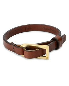 $275 Alice Made This MENS BROWN LEATHER GOLD Buckle CORD Bracelet Rope BAND