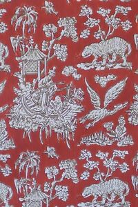 Vintage Wallpaper Chinoiserie Asian Oriental Red by Motif