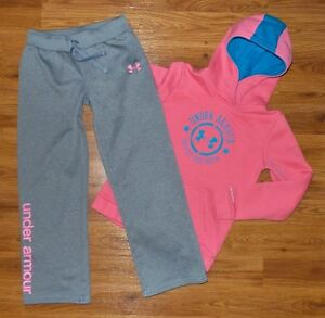 Girl's UNDER ARMOUR Coldgear STORM Pullover Hoodie Pants Set Youth Large Pink