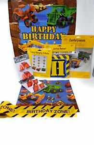 Under Construction Kids Birthday Party Decorations and Candles 6-Piece Bundle