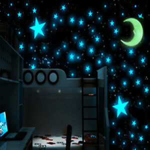 1Moon amp; 100pcs Star 3D DIY Room Home Glow In The Dark Wall Sticker Accessories $4.10