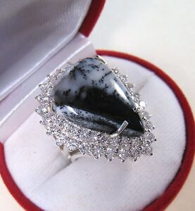 DENDRITIC AGATE & WHITE SAPPHIRE RING 15.86 CTW size 7 WHITE GOLD925 S. SILVER