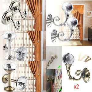 2x Crystal Curtain Hold Chrome Tie Back Hook Tassel Holder Wall Mounted Hanger
