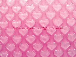 PINK HEART BUBBLE AIR CUSHION WRAP 8quot; x 18ft Roll Special Festive Romantic Gift