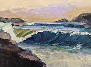 ROCK CURL ONE Original Expression Seascape Painting Pacific Ocean 12x16 080717 $39.95