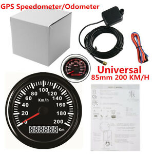 85mm 200 KMH Waterproof GPS Digital Speedometer Gauge Odometer Car Truck Marine