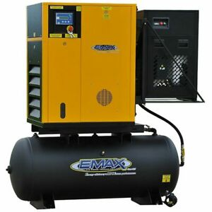 EMAX 10-HP 120-Gallon Rotary Screw Air Compressor Fully Packaged w Dryer (23...