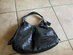 coach leather crocodile pattern bag and wallet