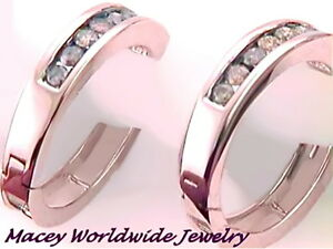Brandy Diamond® Chocolate Brown 10K Rose Gold Fabulous Hoop Earrings .50Ct