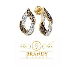 Brandy Diamond® Chocolate Brown 10K Gold Unique Designed Earrings 1.00 Ct