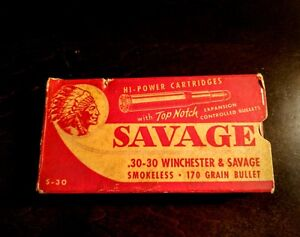 Vintage Savage .30-30 Winchester Empty Red Rifle Box Scarce. Nice