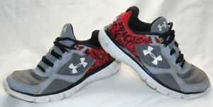 Youth Boys Gray & Print UNDER ARMOUR Athletic Sneakers Shoes 4.5 Y
