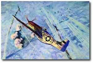 DOUBLE OVER BERLIN by Rick Herter P 51 Mustang Aviation Art Print Canvas