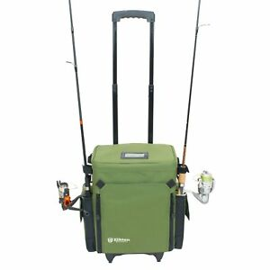 Elkton Outdoors Rolling Tackle Box Green  L 15.7 x W 9.6 x H 18.5 inches  11 p