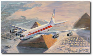 Turning Final For Cairo by Rick Herter TWA Boeing 707 Aviation Art Print