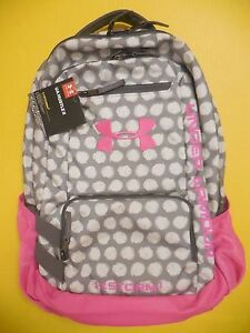 NWT Under Armour UA Storm One 1 Hustle II Backpack Pink Gray Polka Dots Pretty!!