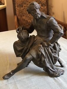 ANTIQUE BRONZE STATUE COPERNICUS SITTING (One Chair Leg Broken Off