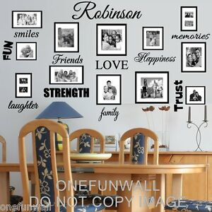 Family Name Wall Decal Personalized and 18 Words Vinyl Sticker Home Decor