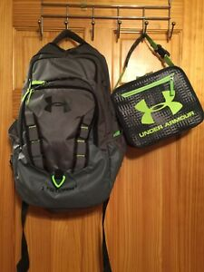 Under Armour Backpack And Lunch Box Green Gray Black Preowned