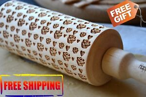 WOODEN ROLLING PIN 4 SIZE FLOWERS ROSES FOR HER IDEA FOR GIFT DESIGN PATTERN