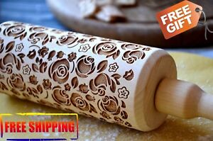 WOODEN ROLLING PIN 4 SIZE BEAUTYFUL FLOWERS ROSES ENGRAVED PATTERN IDEA FOR GIFT